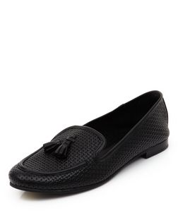 Black Leather Textured Tassel Front Slipper Shoes  | New Look