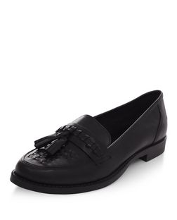 Black Leather Woven Tassel Front Loafers  | New Look