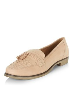 Stone Leather Woven Tassel Front Loafers  | New Look
