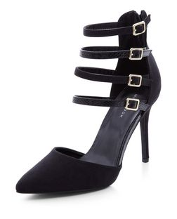 Black Snakeskin Texture Multi Strap Pointed Heels  | New Look