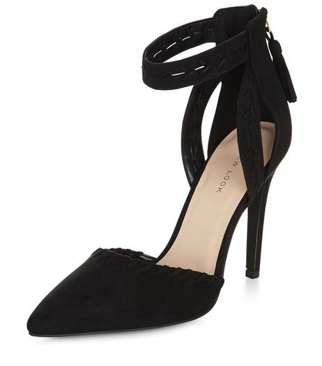 Black Stitch Trim Ankle Strap Pointed Heels  | New Look