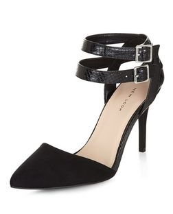 Black Snakeskin Texture Double Strap Pointed Heels | New Look