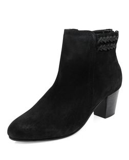Black Suede Plaited Trim Western Boots  | New Look