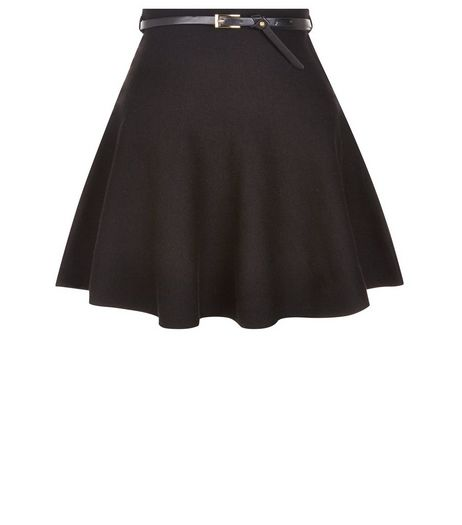 Black Belted Skater Skirt  | New Look
