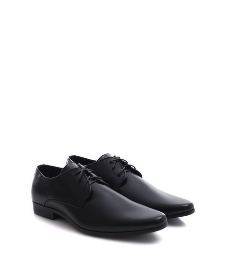 Black Leather-Look Lace Up Gibson Shoes | New Look