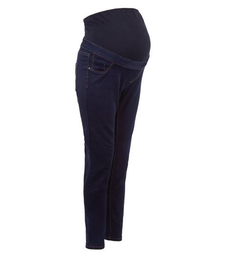Maternity Dark Blue Over Bump Jeggings | New Look