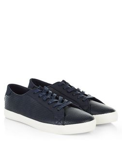 Navy Perforated Trainers  | New Look