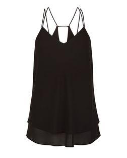Black Double Strap Cut Out Back Cami  | New Look
