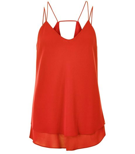 Bright Orange Double Strap Cut Out Back Cami  | New Look