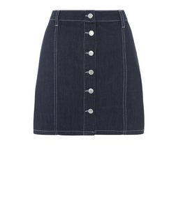 Navy Denim Button Front A-Line  Skirt | New Look