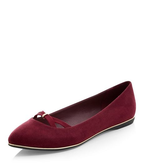 Teens Dark Red Pointed Cross Strap Ballet Pumps | New Look