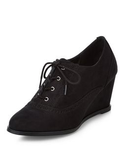Teens Black Wedge Brogues  | New Look
