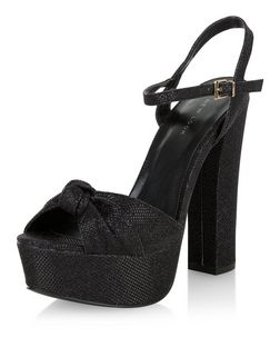 Black Textured Knotted Platform Heels  | New Look
