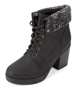 Black Knitted Cuff Lace Up Block Heel Ankle Boots  | New Look