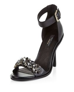 Black Premium Leather Gem Stone Ankle Strap Heels  | New Look
