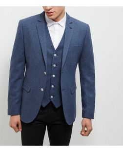 Light Blue Textured Blazer  | New Look