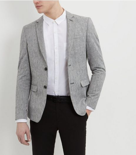 Grey Herringbone Slub Blazer  | New Look