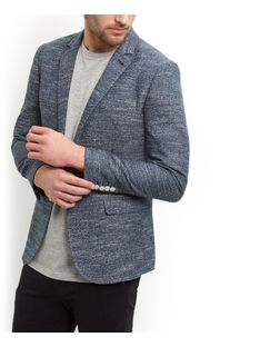 Navy Knitted Space Dye Blazer  | New Look