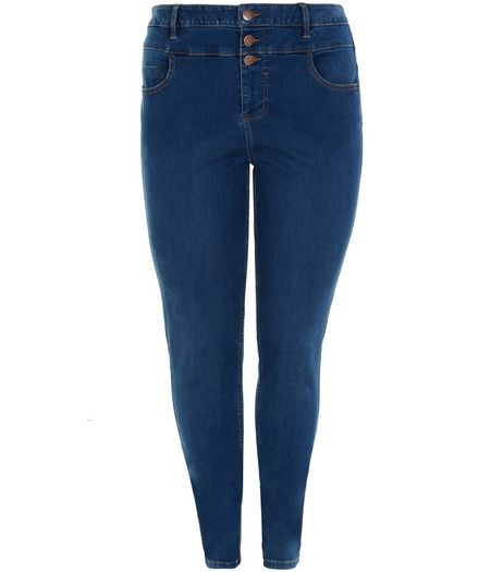 Curves Navy High Waisted Jeans  | New Look