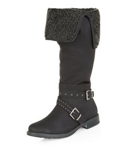 Wide Fit Black Cuffed Knee High Boots  | New Look