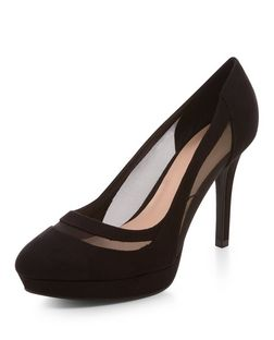 Wide Fit Black Suedette Mesh Trim Court Shoes  | New Look