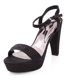 Wide Fit Black Embellished Ankle Strap Block Heels  | New Look