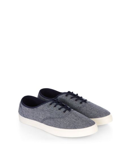 Navy Textured Lace Up Plimsolls | New Look