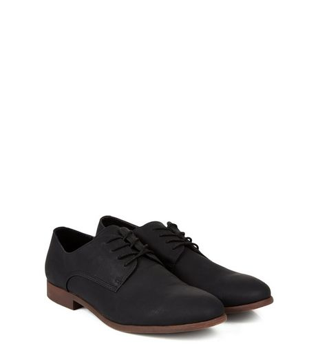 Black Faux Nubuck Derby Shoes  | New Look
