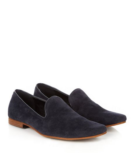 Navy Suedette Slipper Shoes  | New Look