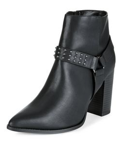 Wide Fit Black Studded Strap Block Heel Ankle Boots  | New Look