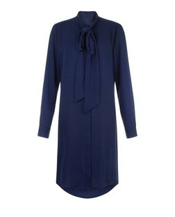 Blue Vanilla Navy Pussybow Shirt Dress | New Look