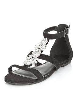 Black Suede Embellished Front Sandals  | New Look