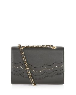Black Scallop Trim Chain Strap Shoulder Bag  | New Look