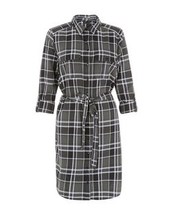 Green Check Tie Waist Shirt Dress  | New Look
