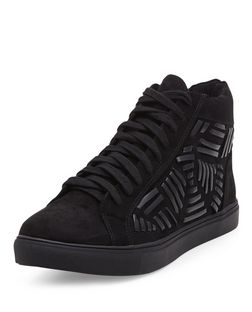 Black Woven Hi-Top Plimsolls  | New Look