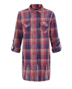 Anita and Green Red Checked Longline Shirt | New Look