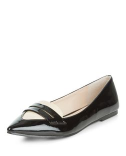 Black Contrast Patent Pointed Loafers  | New Look