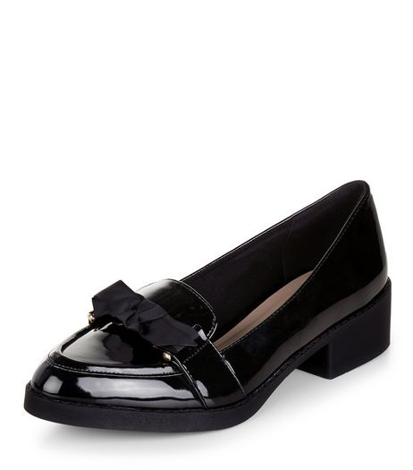 Black Bow Patent Loafers | New Look