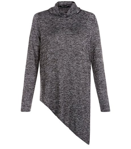 Dark Grey Fine Knit Cowl Neck Asymmetric Top  | New Look