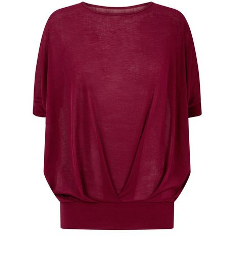 Blue Vanilla Burgundy Pleated Top  | New Look