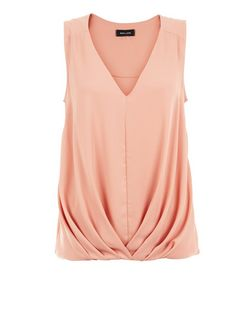 Coral Tuck Front Bubble Hem Sleeveless Shell Top | New Look