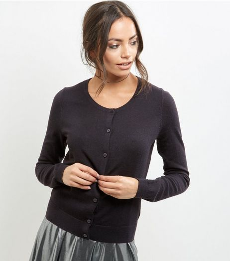 Black Crew Neck Cardigan | New Look