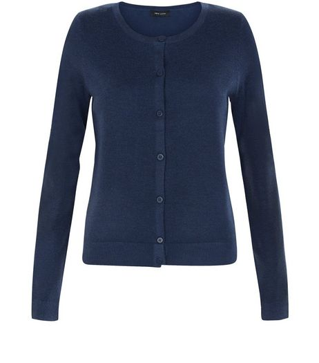 Navy Crew Neck Cardigan | New Look