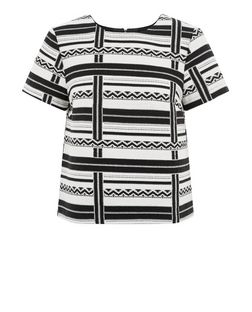 Monochrome Stripe Jacquard T-Shirt  | New Look