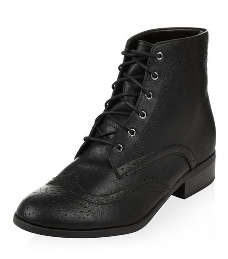 Black Embossed Lace Up Boots  | New Look