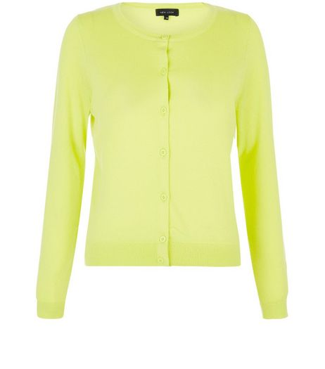 Lime Crew Neck Cardigan | New Look