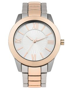 Silver and Rose Gold Textured Face Sports Watch  | New Look
