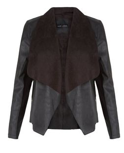 Black Leather-Look Suedette Trim Jacket  | New Look