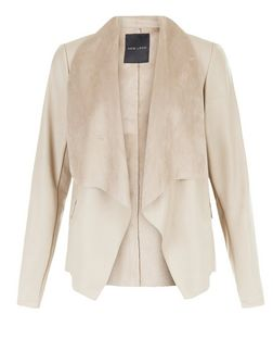 Cream Leather-Look Suedette Trim Jacket  | New Look