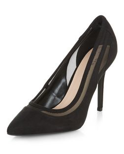 Black Suedette Mesh Trim Pointed Court Shoes  | New Look